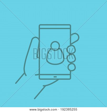 Hand holding smartphone color linear icon. Smart phone contact. Thin line contour symbols on color background. Vector illustration
