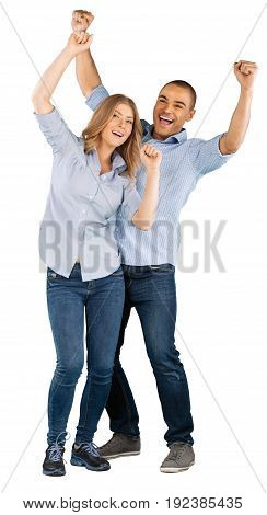 Happy young couple hands up white blue background