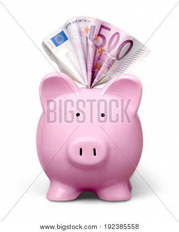 Bank euro pig banknotes piggy piggy bank white