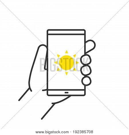 Hand holding smartphone linear icon. Thin line illustration. Smart phone solar charging contour symbol. Vector isolated outline drawing