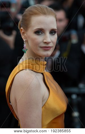 Jessica Chastain attends the 70th Anniversary screening  premiere for at the 70th Festival de Cannes. May 23, 2017 Cannes, France