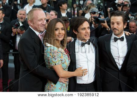 Francois- Henri Pinault, Salma Hayek, Gael Garcia Bernal, Diego Luna attends the 70th Anniversary screening  premiere for at the 70th Festival de Cannes. May 23, 2017 Cannes, France