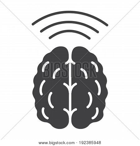 Brain waves glyph icon. Silhouette symbol. Hypnosis. Negative space. Vector isolated illustration