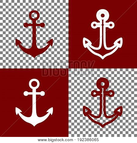Anchor icon. Vector. Bordo and white icons and line icons on chess board with transparent background.
