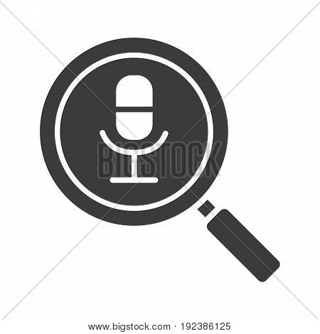 Magnifying glass with microphone glyph icon. Silhouette symbol. Negative space. Vector isolated illustration