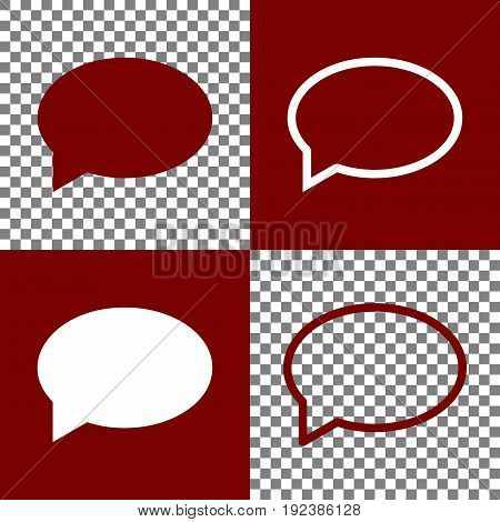 Speech bubble icon. Vector. Bordo and white icons and line icons on chess board with transparent background.