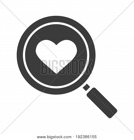 Love search glyph icon. Silhouette symbol. Magnifying glass with heart shape. Negative space. Vector isolated illustration