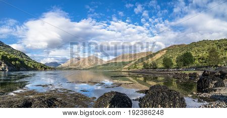 Shores of Loch Creran by the Loch Creran bridge, Argyll, Scotland