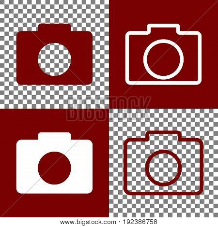 Digital camera sign. Vector. Bordo and white icons and line icons on chess board with transparent background.