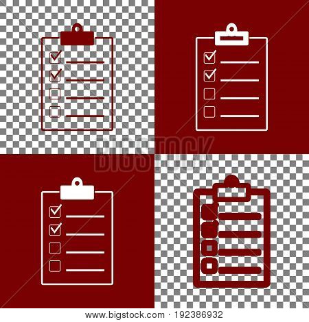 Checklist sign illustration. Vector. Bordo and white icons and line icons on chess board with transparent background.
