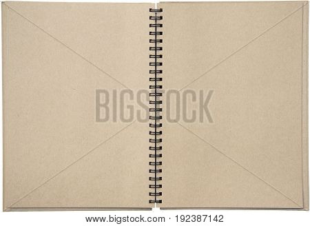 Two-page spread of a spiral bound note pad binder with tinted paper isolated on white background.