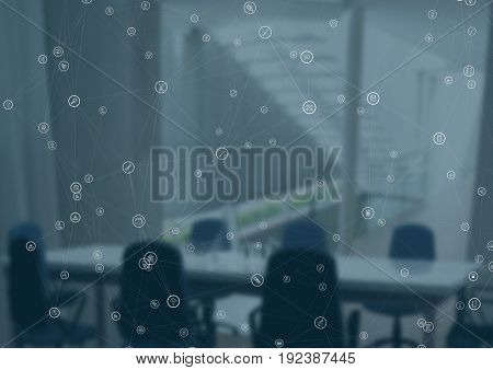 Digital composite of White network against blurry meeting room with blue overlay