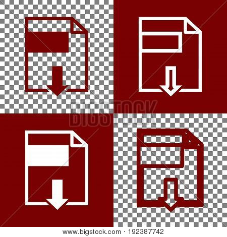 File download sign. Vector. Bordo and white icons and line icons on chess board with transparent background.