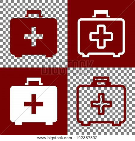 Medical First aid box sign. Vector. Bordo and white icons and line icons on chess board with transparent background.