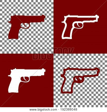 Gun sign illustration. Vector. Bordo and white icons and line icons on chess board with transparent background.