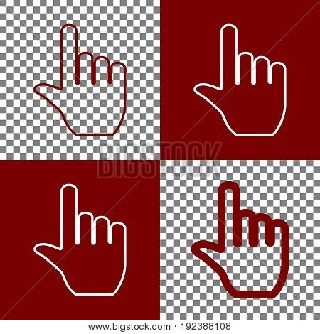 Hand sign illustration. Vector. Bordo and white icons and line icons on chess board with transparent background.