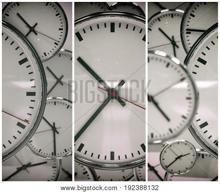 3d render: Clock Background, Time Concept, Toned Image