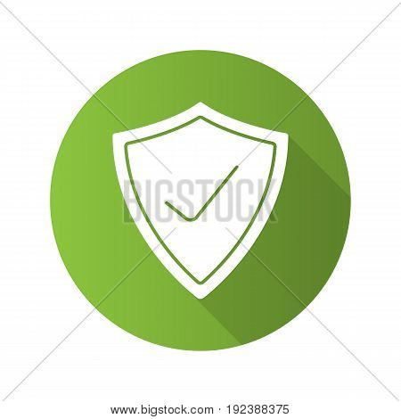 Security check flat design long shadow icon. Protection shield with tick mark. Vector silhouette symbol
