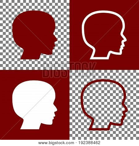 People head sign. Vector. Bordo and white icons and line icons on chess board with transparent background.