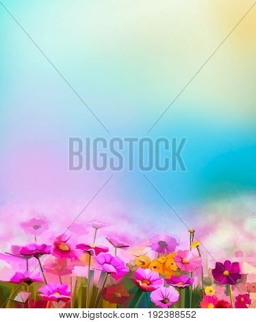 Abstract colorful oil painting red, pink cosmos flower, daisy, wildflower in field. Blurry wildflowers at meadow with soft blue sky. Spring summer season nature background.