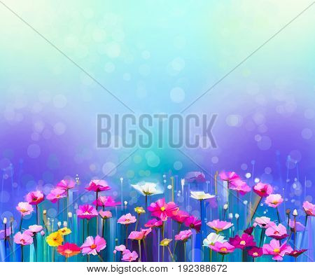 Abstract colorful oil painting red pink cosmos flower daisy wildflower in field. Blurry wildflowers at meadow with bokeh and soft green blue sky. Spring summer season nature background.