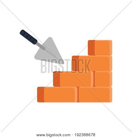 Trowel And Brick Wall Icon Isolated On White Background. House Construction. Cement Trowel.