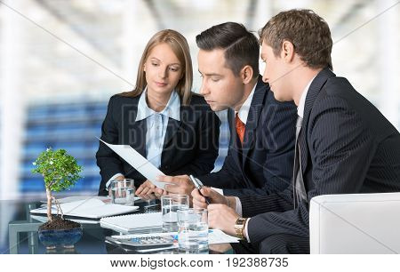 Business people report table money paper financial