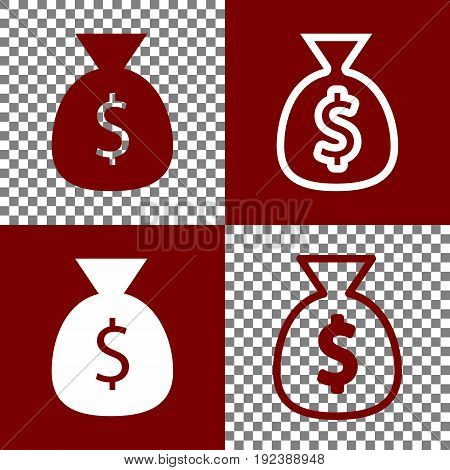 Money bag sign illustration. Vector. Bordo and white icons and line icons on chess board with transparent background.