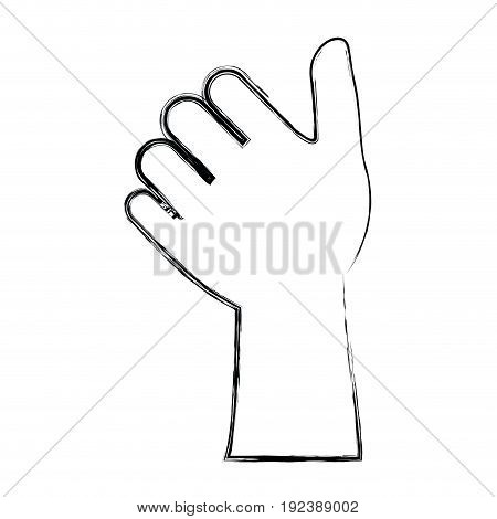 monochrome blurred silhouette of left hand thumb up vector illustration