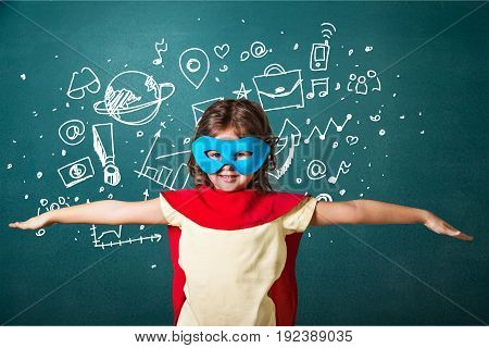 Green girl blackboard elementary age child care blue background
