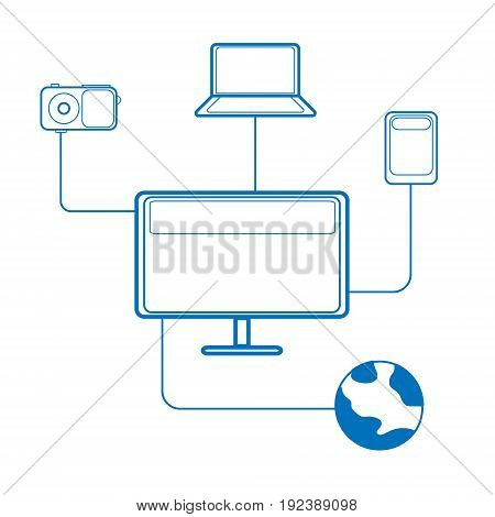 Vector illustration of electronic media devices painted with blue contour lines connected by lines on a white background