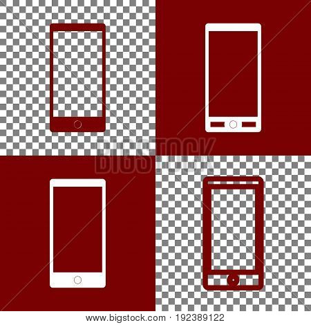 Abstract style modern gadget with blank screen. Template for any content. Vector. Bordo and white icons and line icons on chess board with transparent background.