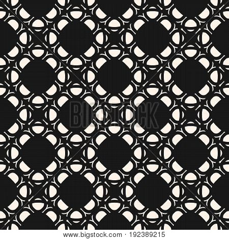 Arabic seamless pattern. Monochrome abstract geometric ornament in oriental style. Dark delicate ornamental vector texture. Arabesque background, repeat tiles. Design pattern, covers pattern, fabric pattern.