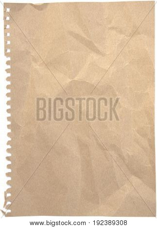 Blank crumpled and tinted notepaper sheet with ripped perforation isolated on white background.