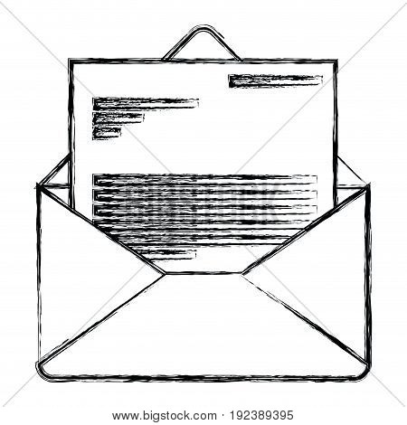 monochrome blurred silhouette of envelope mail opened with letter vector illustration