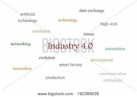 Illustration of Industry 4.0 white background with multi colored words
