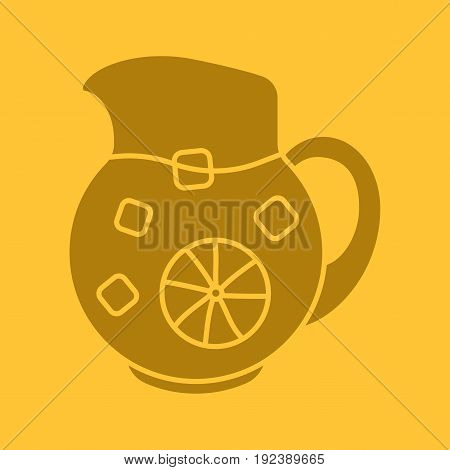Lemonade jug glyph color icon. Silhouette symbol. Negative space. Vector isolated illustration