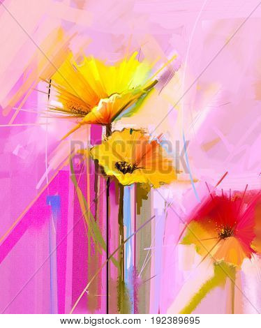 Abstract oil painting of spring flower. Still life of yellow, pink and red gerbera. Colorful bouquet flowers with light yellow pink and red background. Hand Painted floral Impressionist style