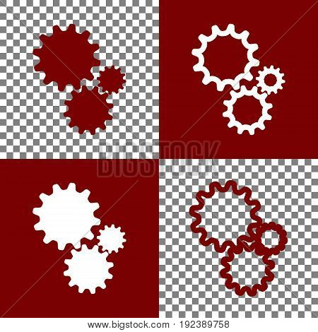 Settings sign illustration. Vector. Bordo and white icons and line icons on chess board with transparent background.