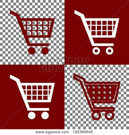 Shopping cart sign. Vector. Bordo and white icons and line icons on chess board with transparent background.