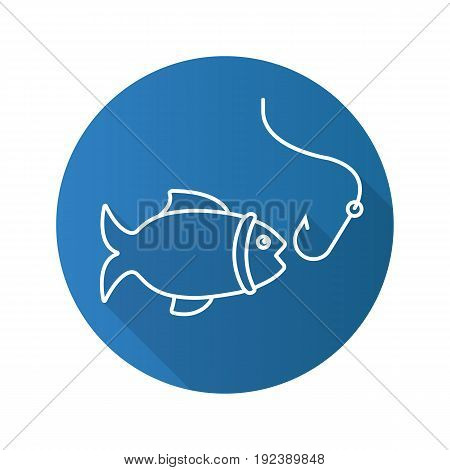 Fishing flat linear long shadow icon. Fish with hook. Vector outline symbol