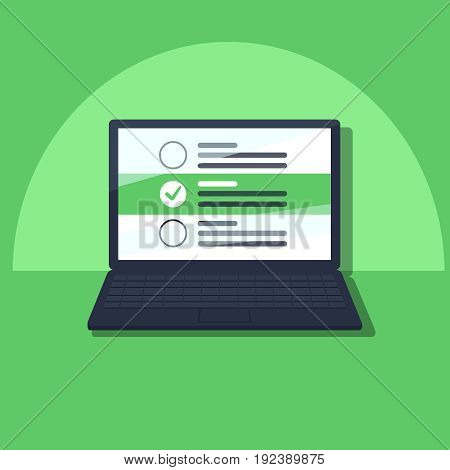 Laptop and checkboxes with check mark. Checklist, white tick on laptop screen. Choice, survey concepts. Modern flat design graphic elements for web banners, websites, infographics. Vector illustration