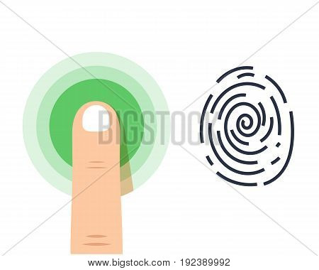 Human finger print vector icon on white background. Vector Icons Set, Isolated Sci-Fi Future Identification Authorization System