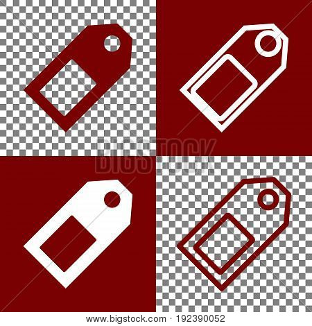 Price tag sign. Vector. Bordo and white icons and line icons on chess board with transparent background.