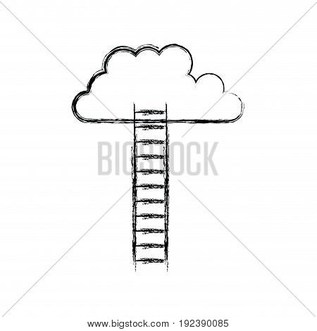 monochrome blurred silhouette of ladder to cloud vector illustration