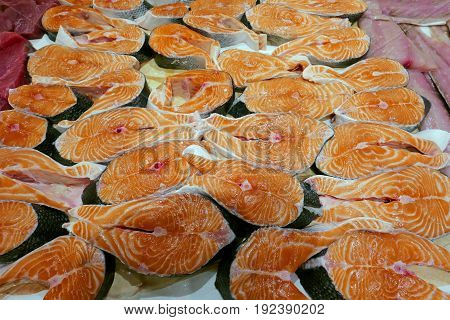Fresh Salmon Steaks for Sale at Fish Market