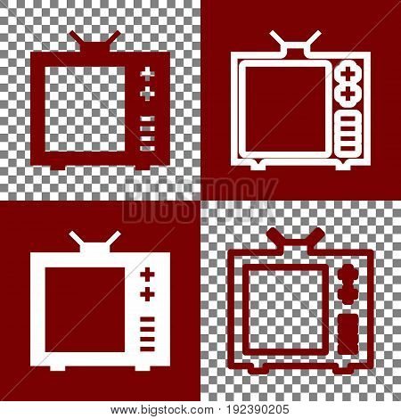TV sign illustration. Vector. Bordo and white icons and line icons on chess board with transparent background.