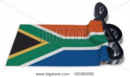 clef symbol symbol and flag of south africa - 3d rendering