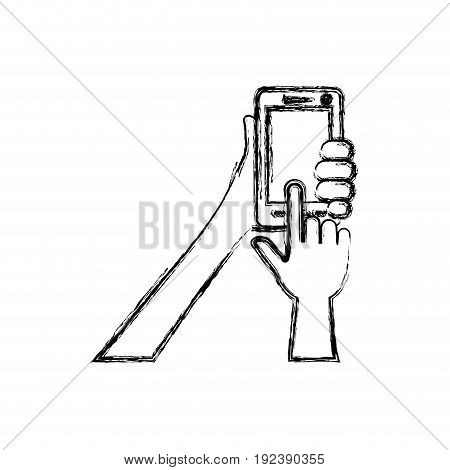 monochrome blurred silhouette of hands holding smartphone vector illustration