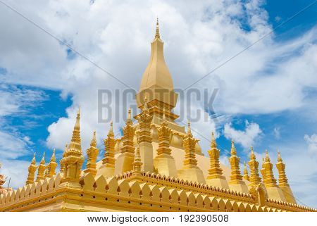 Closeup to Ancient Golden Pagoda Aged Over 400 Years in Vientiane LAOS (Pha That Luang)